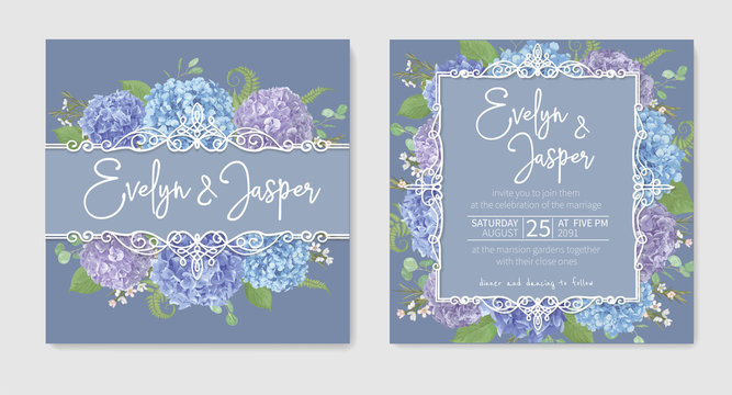 Set for two wedding invitation, greeting card, save date, banner. leaves, branches eucalyptus, gaultheria, salal, chamaelaucium, fern.Blue, purple, of flowers hydrangea.Isolated on background.