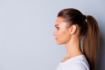 Close up side profile photo beautiful amazing she her lady perfect ideal appearance look empty space imaginary flight listen good news  wear casual white t-shirt isolated grey background Fototapete
