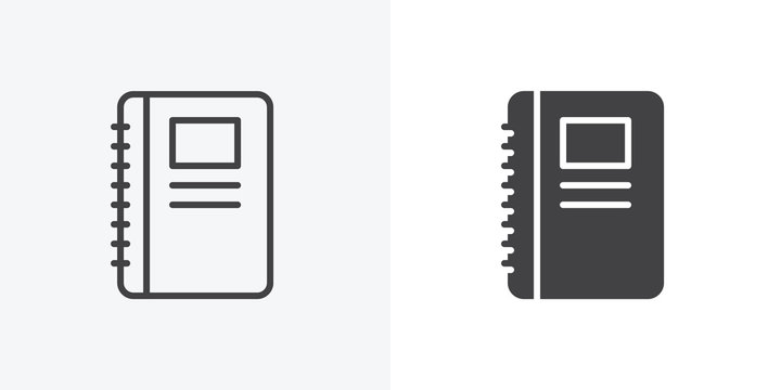 Organizer book icon. line and glyph version, Notebook outline and filled vector sign. linear and full pictogram. Symbol, logo illustration. Different style icons set