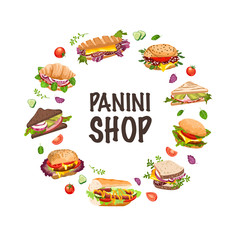 sandwiches and panini vector  illustration