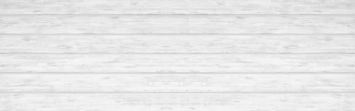 Panorama of white wood plank texture and seamless background