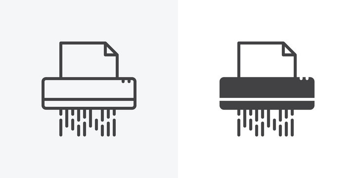 Documents shredder icon. line and glyph version, Paper shredding machine outline and filled vector sign. linear and full pictogram. Symbol, logo illustration. Different style icons set