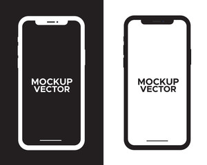 Mobile phone duo color black and white with blank screen isolated on white background