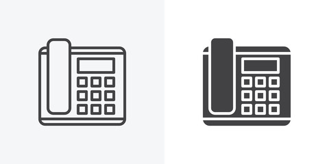 Office phone icon. line and glyph version, office telephone with buttons outline and filled vector sign. linear and full pictogram. Symbol, logo illustration. Different style icons set