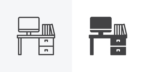 Office workspace desk icon. Computer table with folders line and glyph version, outline and filled vector sign. linear and full pictogram. Symbol, logo illustration. Different style icons set