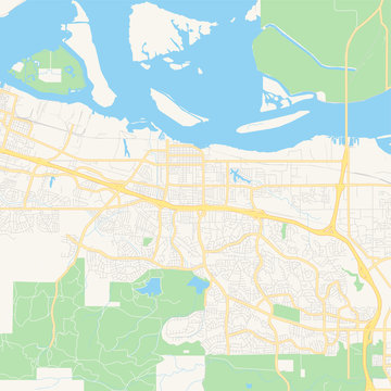 Empty vector map of Antioch, California, USA