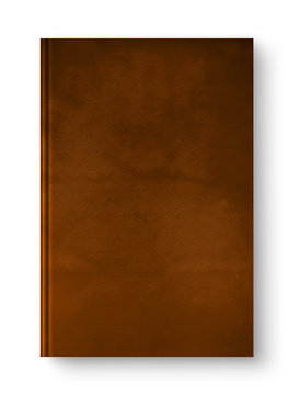 Closed leather blank book isolated on white