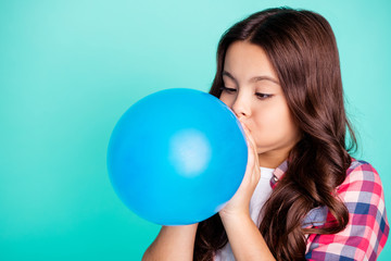 Close-up portrait of her she nice attractive cute charming wavy-haired girl in checked shirt blowing festive baloon fest isolated on bright vivid shine green blue turquoise background