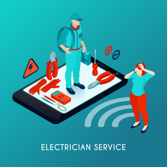 Electrician Service Isometric Composition