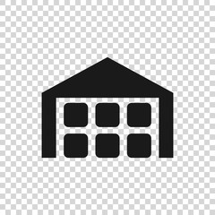 Grey Warehouse icon isolated on transparent background. Vector Illustration