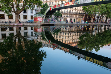 Urban Channel Reflections in Saint Martin Paris France