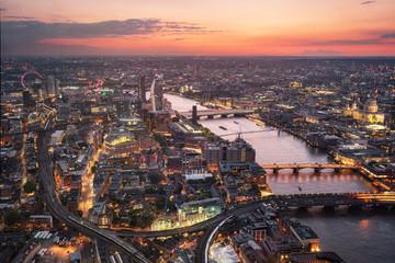 Fotobehang Londen Aerial view of London skyline at sunset, United Kingdom .