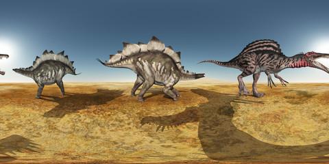 360 Grad Panorama mit den Dinosauriern Stegosaurus und Spinosaurus in einer Wüste