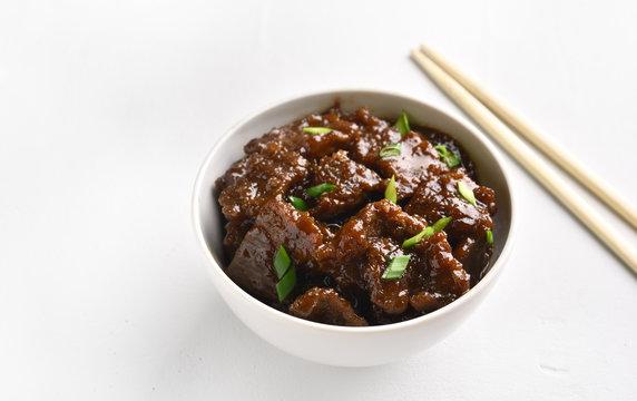 Mongolian beef in bowl