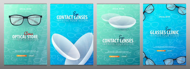 Set of Banners for Glasses Clinic or Optical Store with eye glasses and Contact Lenses. Hand draw doodle background.