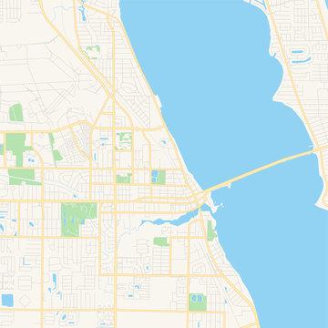 Empty vector map of Melbourne, Florida, USA