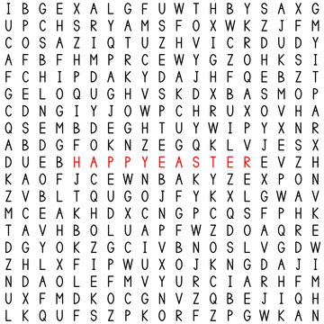 Happy Easter. The words in the word puzzle