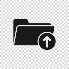 Grey Download arrow with folder icon isolated on transparent background. Vector Illustration