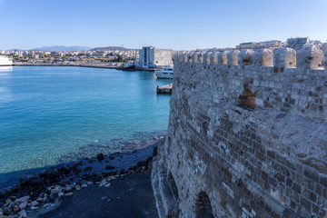 "Heraklion, Crete Island - Greece. Panoramic view of Heraklion city, from the Venetian fortress ""Koules"" (castello a mare). Sunny day with clear blue sky"