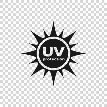 Grey UV protection icon isolated on transparent background. Ultra violet rays radiation. SPF sun sign. Vector Illustration