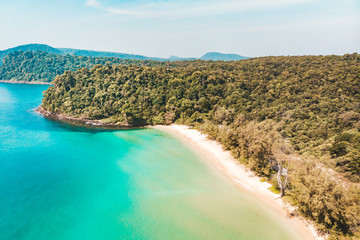 Long Beach on Koh Rong island in Cambodia, South-East Asia. top view, aerial view of beautiful tropical island in Gulf of Thailand. Wall mural