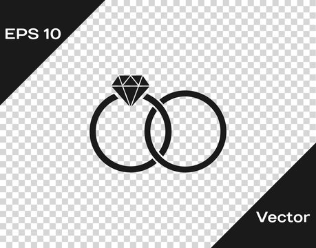 Grey Wedding rings icon isolated on transparent background. Bride and groom jewelery sign. Marriage icon. Diamond ring. Vector Illustration