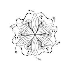Oriental mandala motif of round swirling shape, illustration of floral pattern for decoration in Oriental style