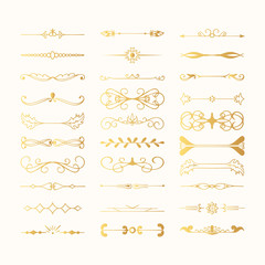 Set of vintage hand drawn golden dividers and lines. Gold fancy borders and elegant laurels. Vector isolated flourish elements.