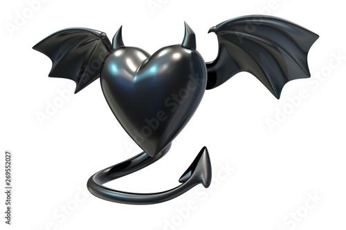 3D render of Black Latex Heart shape with devil wings