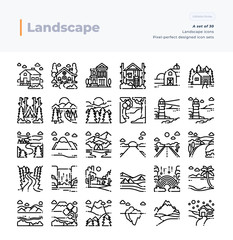 Detailed Vector Line Icons Set of Landscape .64x64 Pixel Perfect and Editable Stroke.