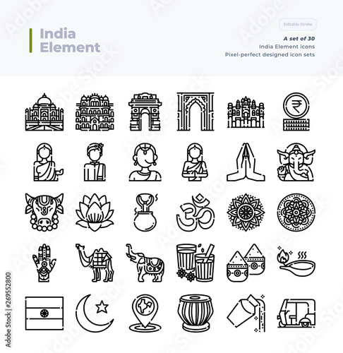 Detailed Vector Line Icons Set of India Element  64x64 Pixel Perfect