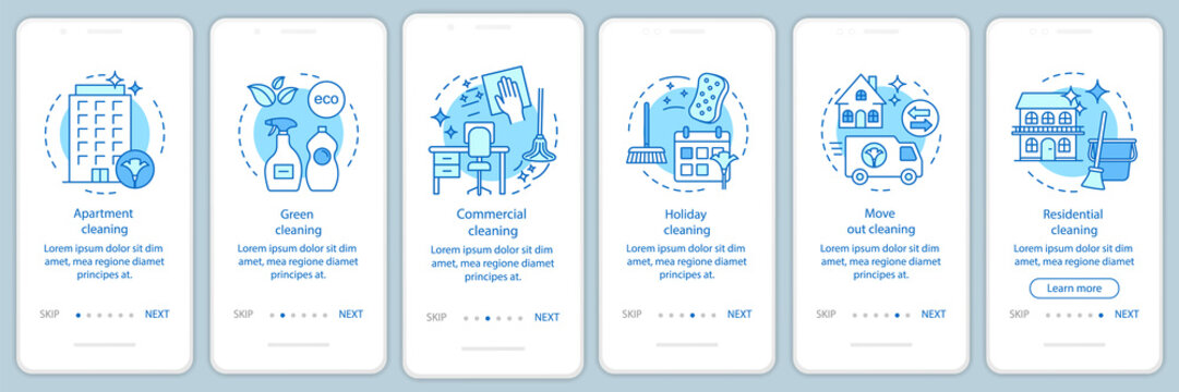Cleaning services onboarding mobile app page screen, linear concepts