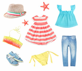 c223868f95 Suumer bright colorful clothes set for child girl isolated.