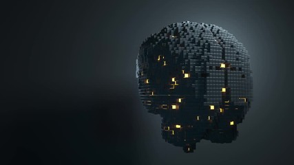 Wall Mural - Brain consisting of blocks. Artificial intelligence concept. 3D animation
