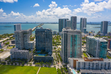 Wall Mural - Aerial shot midtown Miami Florida view of Biscayne Bay