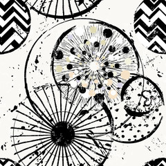 seamless background pattern, with circles/dots, lines, strokes and splashes, black and white