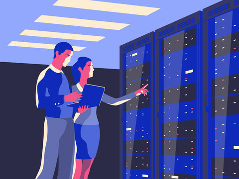 Male IT Specialist Holds Laptop and Discusses Work with Female Server Technician. Vector illustration.