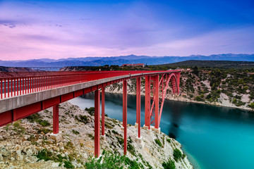Colorful Sunset Over Maslenica Bridge in Dalmatia, Croatia