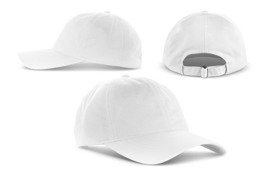 white canvas fabric cap isolated on white background