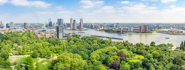 Panoramic view of Rotterdam with the river Maas and the Erasmus bridge, the park at the Euromast, the buildings at the Cruise Terminal and Hotel New York, Katendrecht with SS Rotterdam