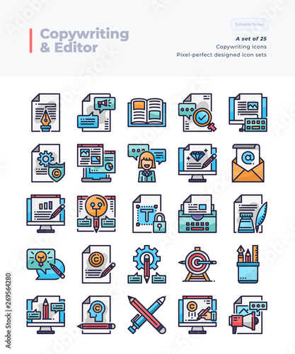 Detailed Vector Line Icons Set of Copywriting and Editor  64x64