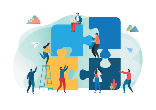 Teamwork connection successful together concept. The Big jigsaw puzzle