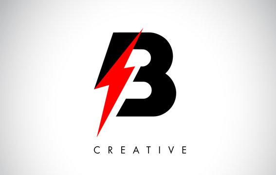 B Letter Logo Design With Lighting Thunder Bolt. Electric Bolt Letter Logo
