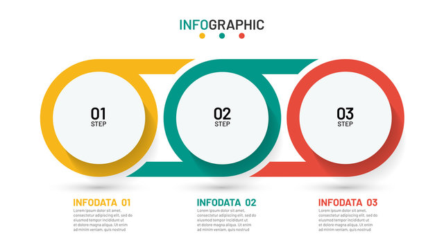 Timeline infographic design template. Business concept with 3 options, steps, circles. Can be used for workflow layout, diagram, annual report, poster.