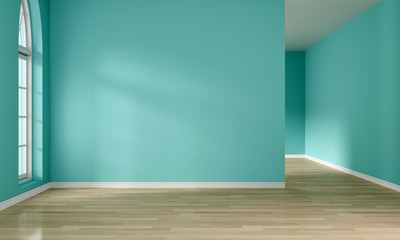 Light from window and empty mint green room interior, 3D rendering