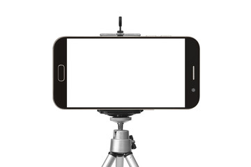 black smart phone with tripod isolated on white