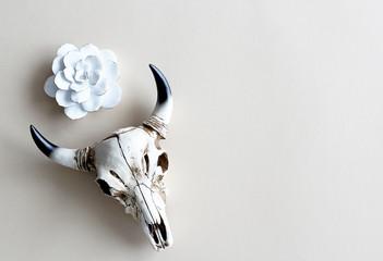 skull horns ceramic white flower