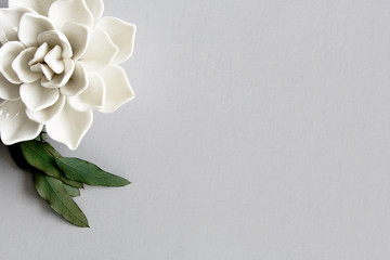 ceramic white flower and leaves