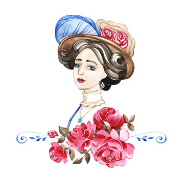Beautiful woman with rose flowers, watercolor fashion illustration. Romantic background for International Women's Day greeting card, print, invitation.
