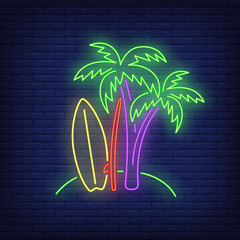 Palm trees and surfboards on beach neon sign. Surfing, extreme sport, tourism design. Night bright neon sign, colorful billboard, light banner. Vector illustration in neon style.